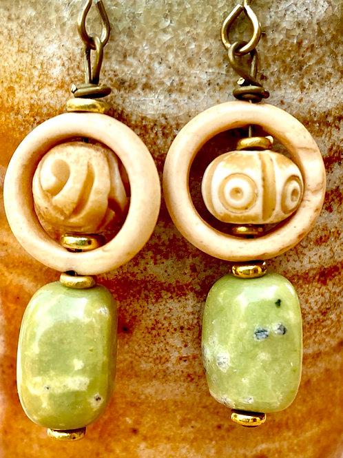 Green Serpentine and Embossed Bone Earrings