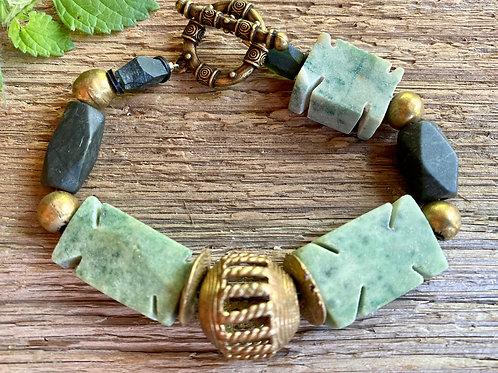 Green Sardonyx with Ghana Brass beaded bracelet