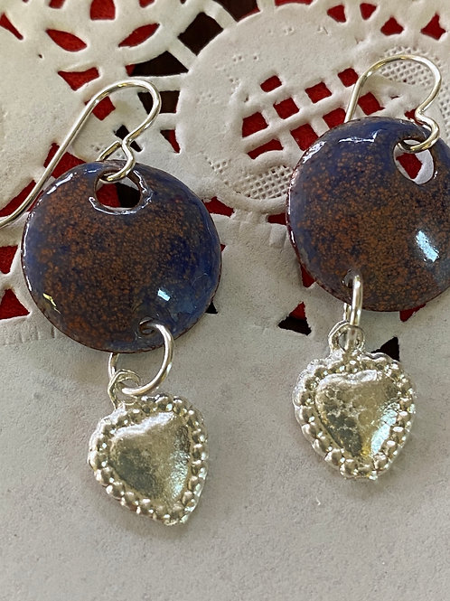 Speckled Purple and Pink Enameled Earrings with Milagro Hearts
