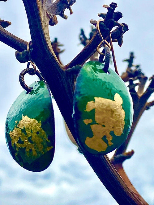 Jungle Green  and Gold Oval Earrings