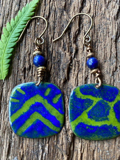 Jungle Green and Cobalt Blue funky patterned enamel