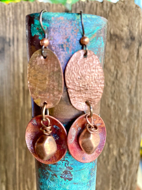 Embossed and textured copper drop earrings