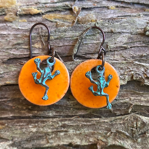Mandarin Orange Enameled Earrings with Verde Green Frogs