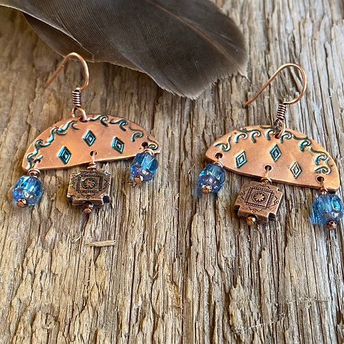 Metal Stamped Copper earrings  with  Czech glass and copper charms