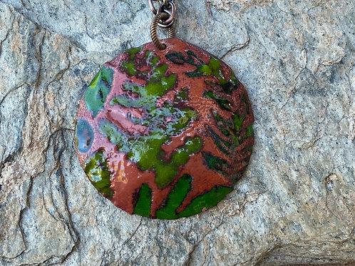 Embossed Fern Copper Enameled Necklace