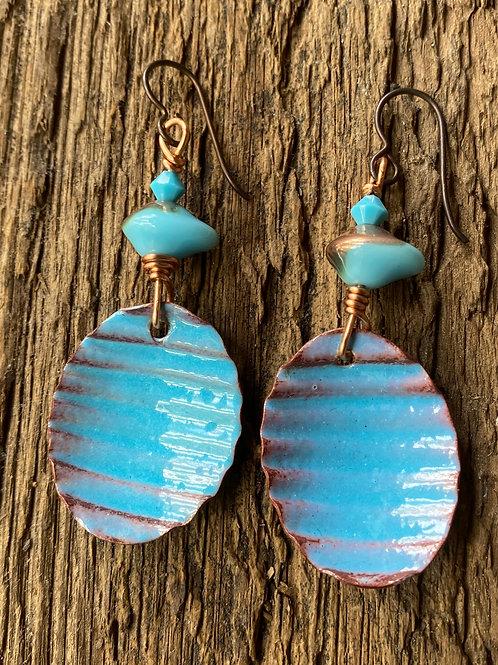 Corrugated baby Enameled Oval Earrings