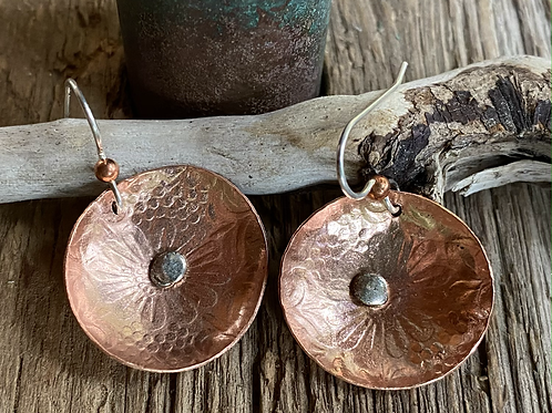 Embossed Copper Disc Earrings with Sterling Silver