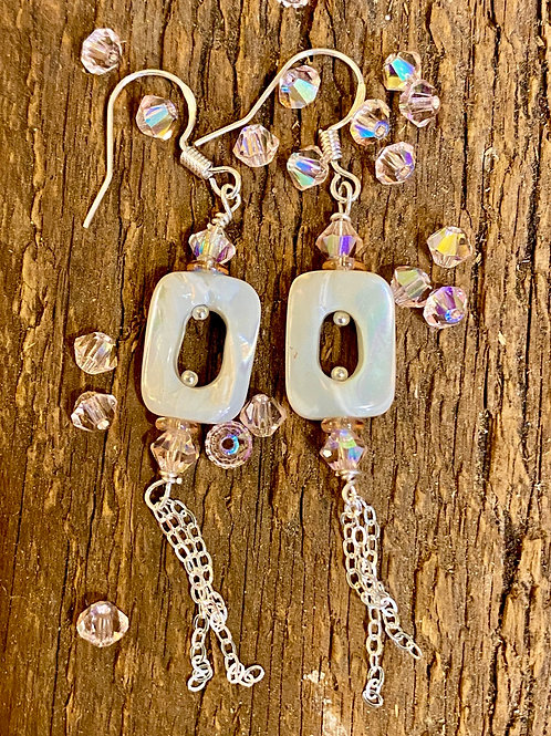 Mother of Pearl, Rose Crystal and Sterling Silver Earrings