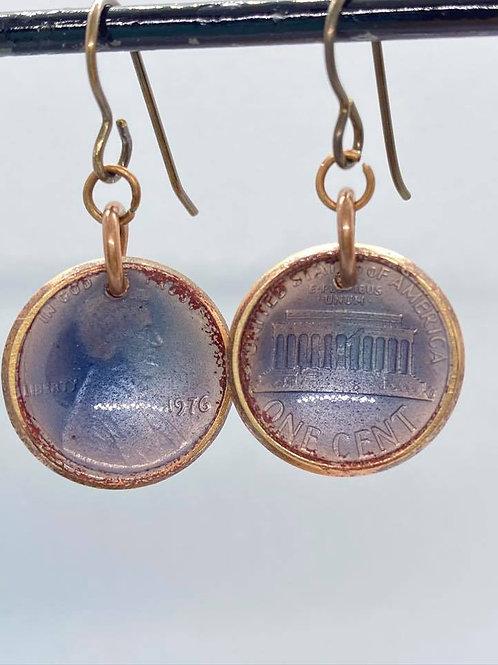 1976 Blue Lincoln Enameled Penny Earring