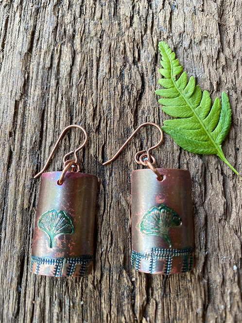 Copper Ginkgo Earrings