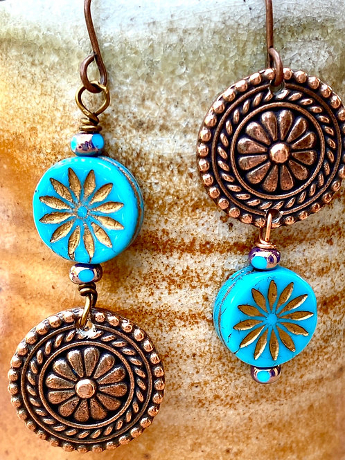 Copper and turquoise Czech glass earrings - Asymmetrical