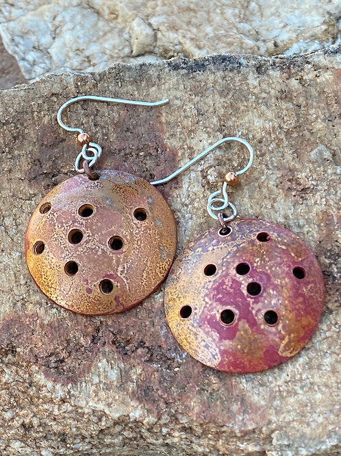 Chunky Copper and Sterling Silver Earrings