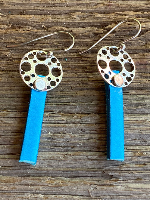 Turquoise leather and Sterling Silver disc earrings