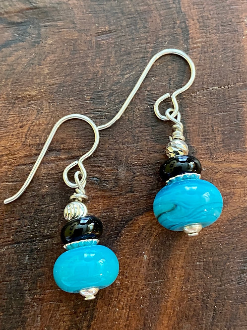 Blue Lampwork Glass and Sterling Silver Earrings
