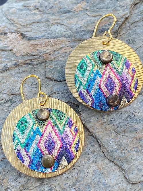 Etched Colorful Brass Earrings