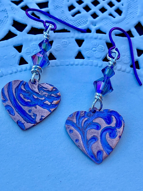 Painted  Copper Hearts  with Swavorski Shimmer Beads