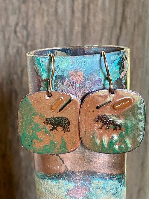 Bear Earrings in Copper Enameled Glass