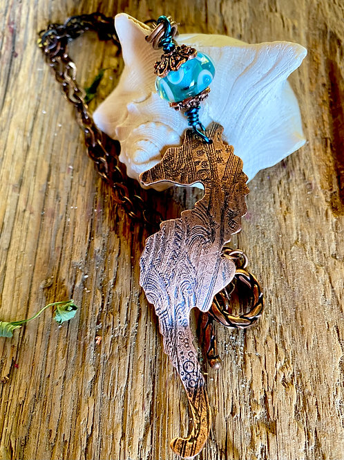 Copper Seahorse Necklace with Lampwork Glass