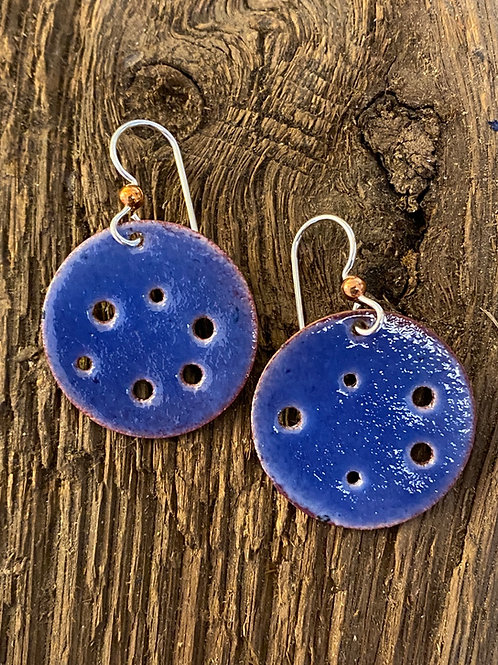 Sapphire blue enamel on copper round earrings