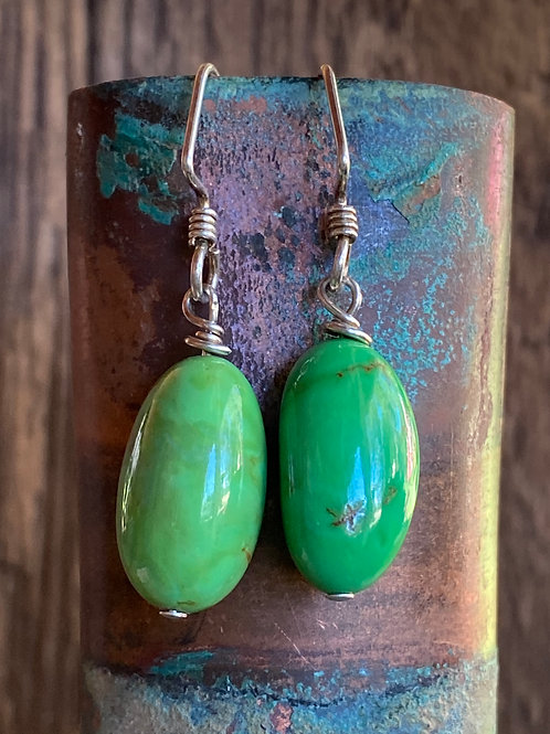 Mojave Green Turquoise Earrings with Asymmetrical Sterling Silver Ear Wires