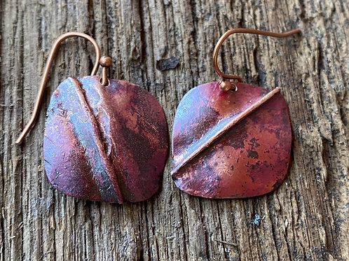 Fold Formed Copper Square Earrings