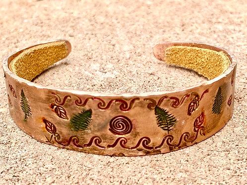 Leaf Imprinted Copper Cuff Bracelet