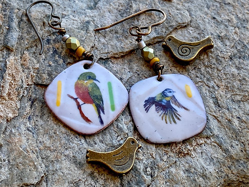 Song Bird Enameled Earrings