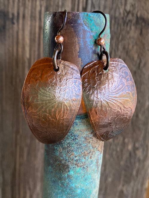 Copper textured shields shaped earrings