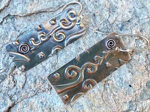 Embossed Sterling Silver Rectangular Earrings