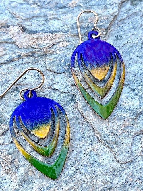 Cobalt Blue , Jungle Green and Marigold Copper Enamel Earrings