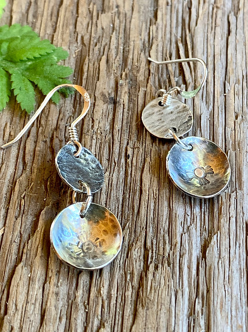 Hammered and metal  stamped design on  sterling silver disc earrings