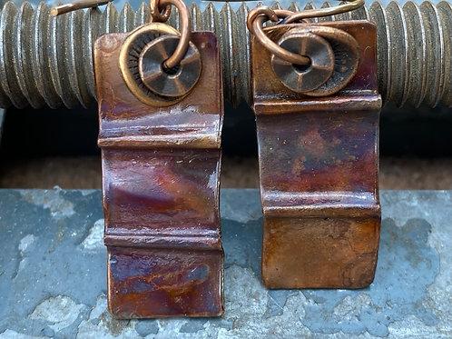 Folded Copper earrings