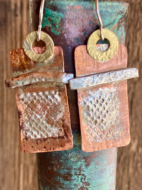 Copper. brass and fine silver screen earrings.