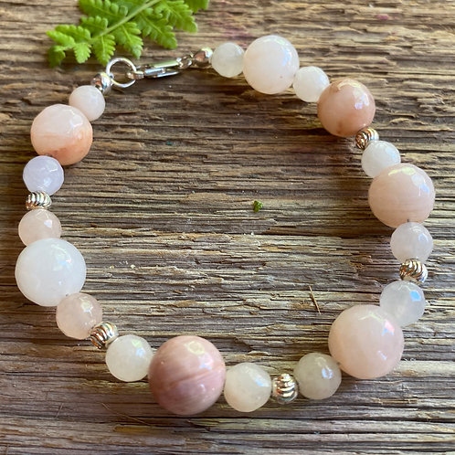Pink Aventurine and Sterling Silver Bracelet