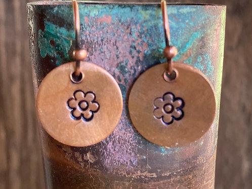 """Metal Stamped Copper """"Cloud"""" Earrings"""