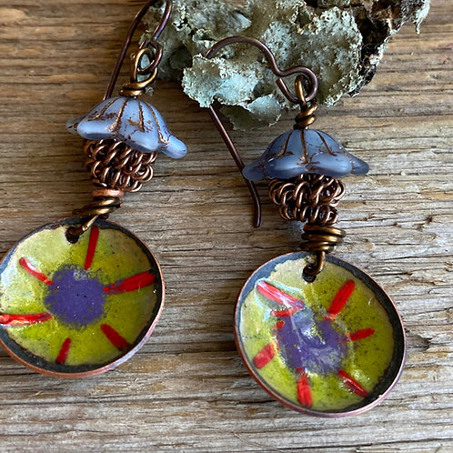 Torch fired copper Enamel in lavender, chartreuse and red