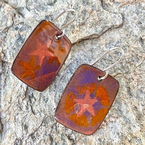 Pink, Orange and Purple Enameled Earrings