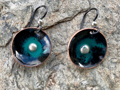 Black and Turquoise Enameled Earrings