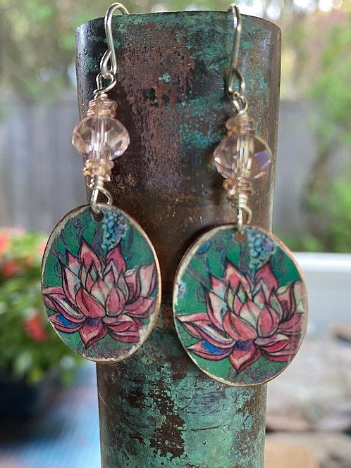 Floral  Charms and Blush Pink Crystal Earrings