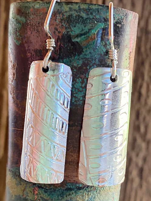 Sterling Silver Textured Patterned Earrings