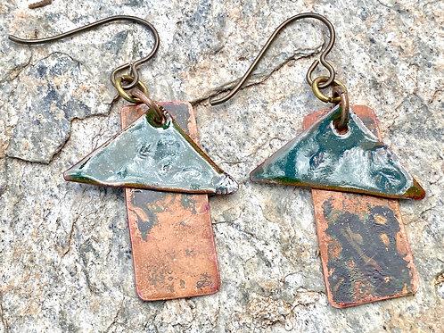 Copper and Enameled Earrings