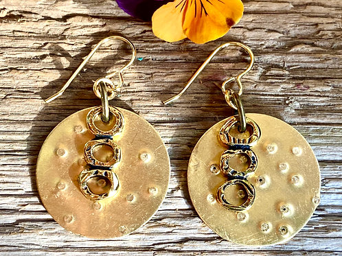 Hammer Textured Brass disc earrings