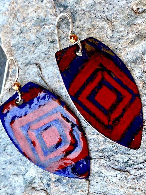 Cobalt Blue and Flame Orange Copper Enamel Shield Shaped Earring