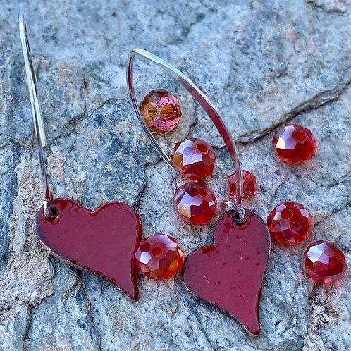 Flame Red Heart Earrings