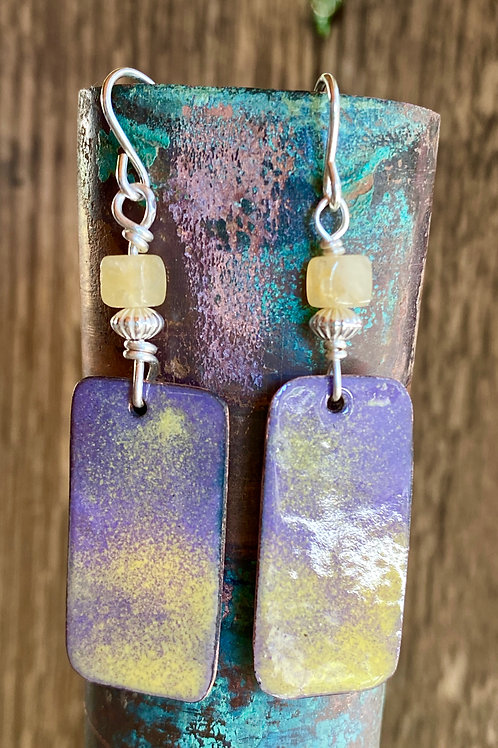 Mellow Yellow and Lavender Enameled drop and dangle earrings