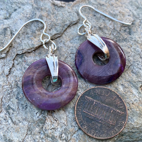 Purple Sugalite and Sterling Silver Disc Earrings