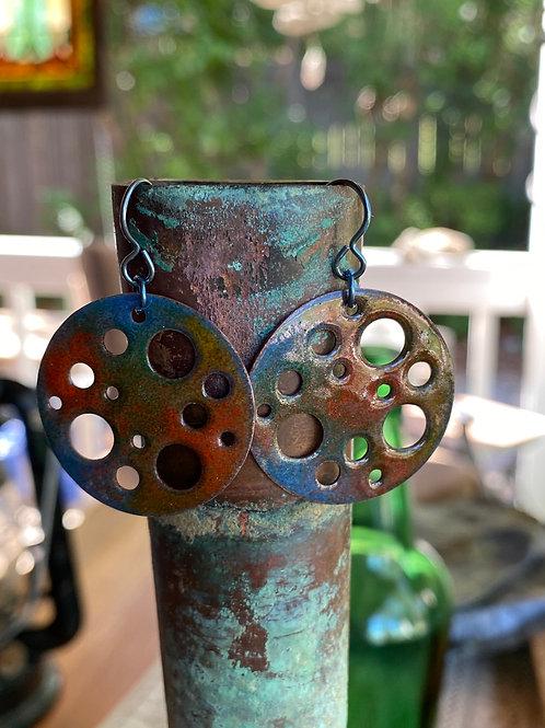 Copper Enamel Holey Moley Earrings