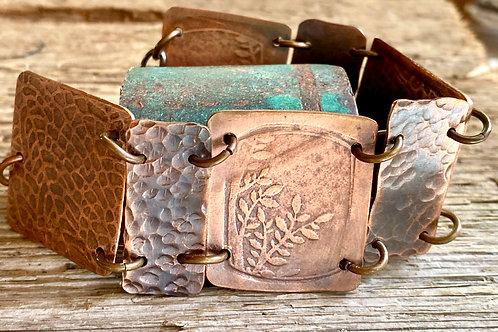 Embossed  and Textured Copper Link Bracelet