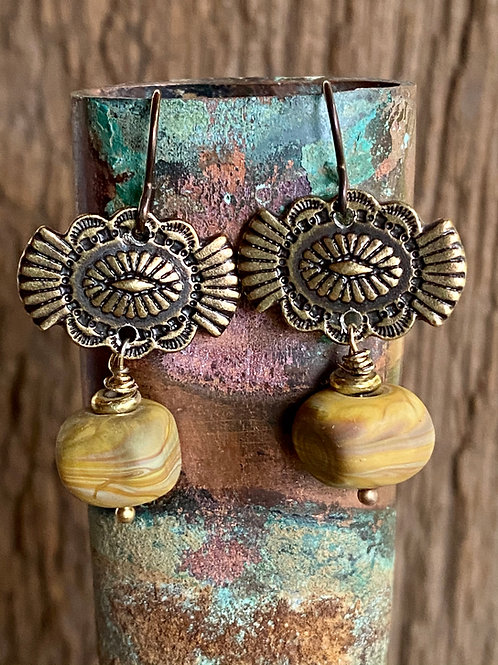 Pewter Southwest button earrings with lampwork glass cubes