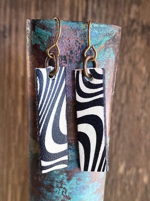 Black and White leather rectangular earrings